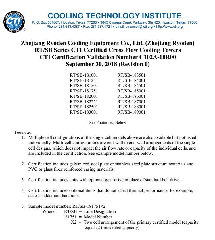 美国CTI产品认证证书